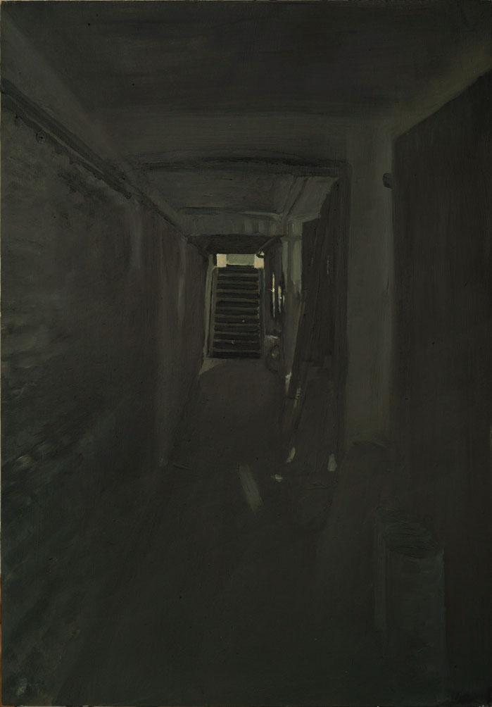 Keller 2012, Öl u. Tempera auf Holz, 76,0 x 53,0 cm