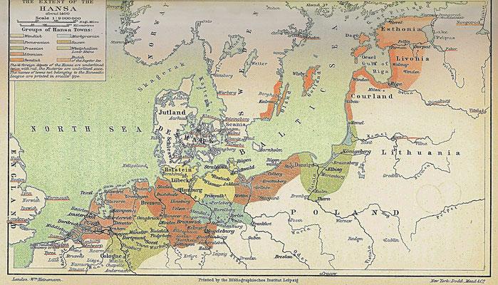 Gebiet der Hanse zur Zeit der Großen Konjuntionen im Element Luft