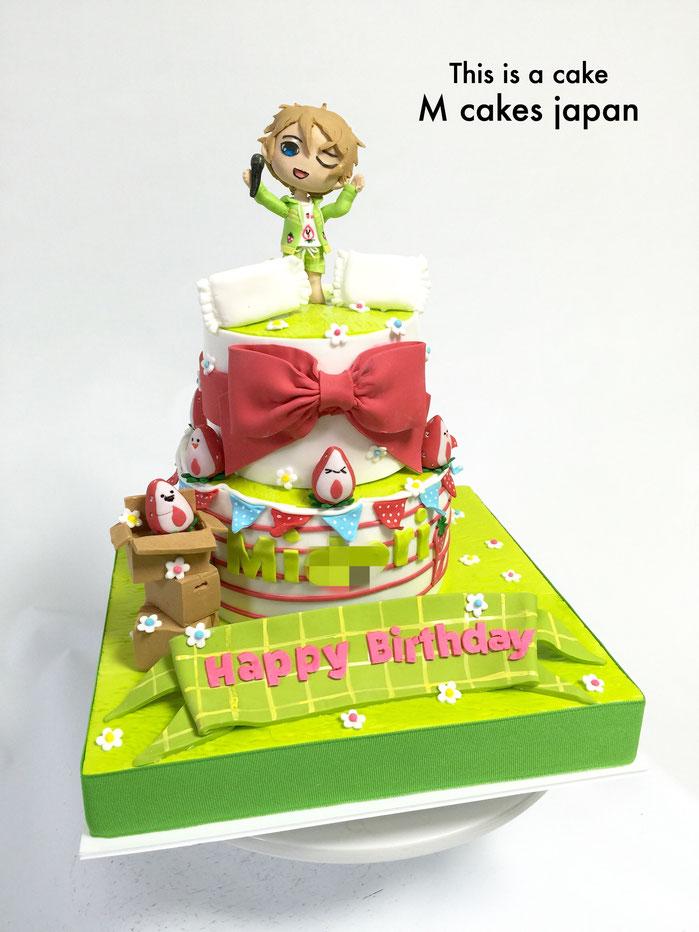 キャラクター イメージの可愛い2段ケーキ🍓 #キャラクター #イチゴ #ミドリ #可愛い #日本のキャラクター #漫画 #manga #anime #animecake #character #charactercake #japan #fondantcake #fondantfigure #誕生日ケーキ