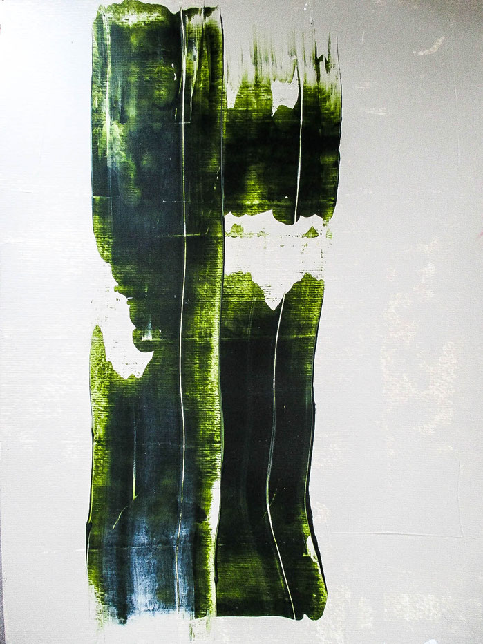 """Broken Grass"", 2018. Acryl auf Mischtechnik-Papier. 29,5x40,5cm."