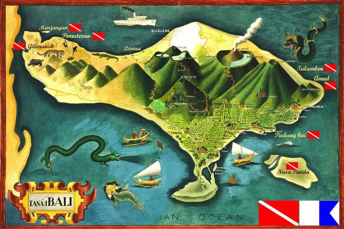 Carte générale des sites de plongée à Bali, Menjangan, Gilimanuk, Pemuteran, Tulamben, Amed, Padang Bai, Nusa Penida et Lembongan.
