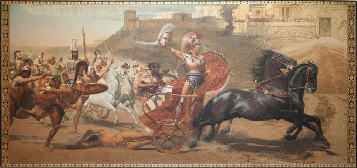 Célebre escena de la Guerra de Troya protagonizada por Aquiles, modelo de Alejandro Magno.