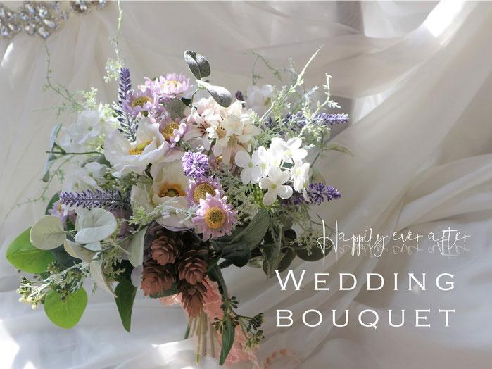 アネモネとラベンダーのナチュラルなアートフラワー造花の結婚式用ウェディングブーケは海外挙式や前撮りにも人気です