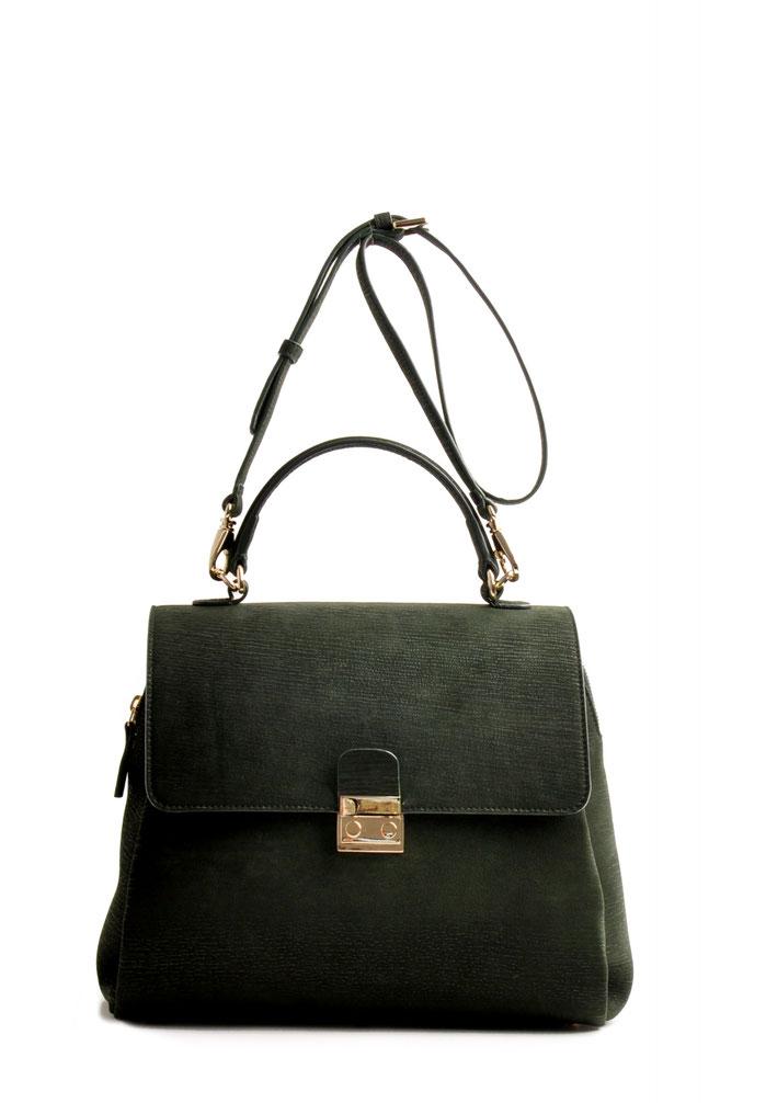 Online-Shop OWA Tracht  exklusive  modische Trachtentasche CLOE versandkostenfrei kaufen. Farbe grün. Rindleder. Handarbeit. goldene Beschläge. abhnehmbarer Schulterriemen