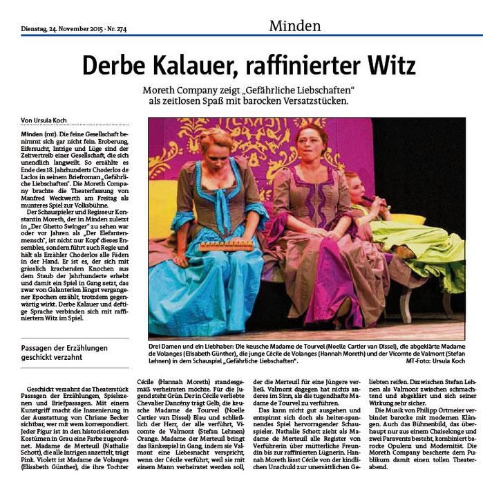 Kritik zu unserem Gastspiel am Stadttheater Minden