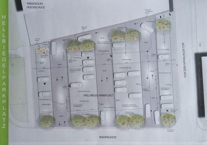 """Entwurf """"Hellriegelparkplatz"""" Büro Grünplan"""