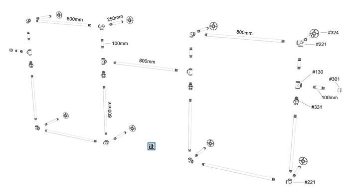 Explosionszeichnung zum Bauplan für einen offenen Kleiderschrank aus Rohren und Temperguss