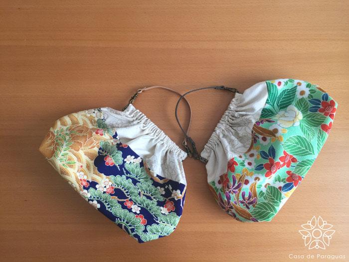 これは3種類の着物の端切れをリメイクして作ったミニバッグです。