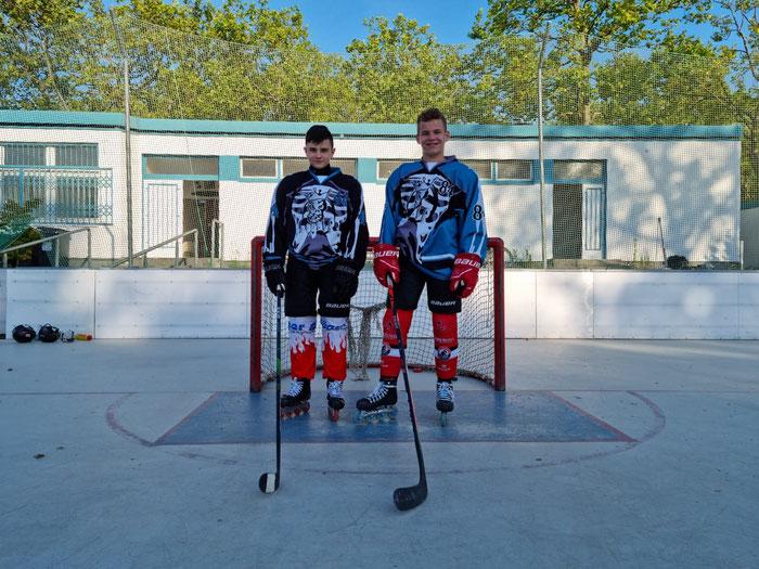 Royals-Spieler Joel Koczlarek (links) und Max Schrank fahren demnächst zum Sichtungslehrgang. Foto: Schrank