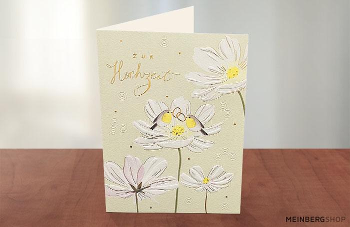 Vögel mit Ringen Hochzeitskarte