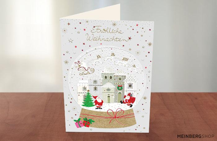 Schneekugel Fröhliche Weihnachtskarte