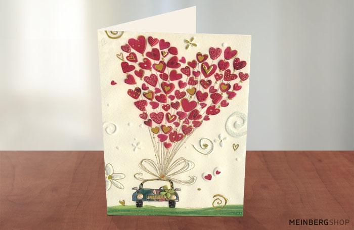 Auto Oldtimer rote Herzen Klappkarte