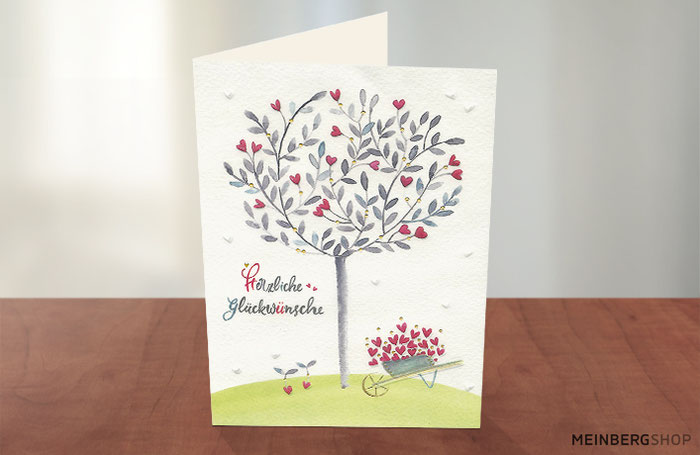 Herzliche Glückwünsche Baum Herzen Karte