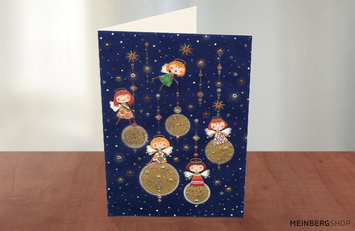 Engel auf Kugeln Turnowsky Weihnachtskarte
