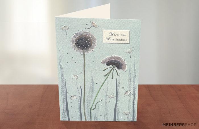 Kondolenz Trauerkarte Pusteblumen Herzliche Anteilnahme