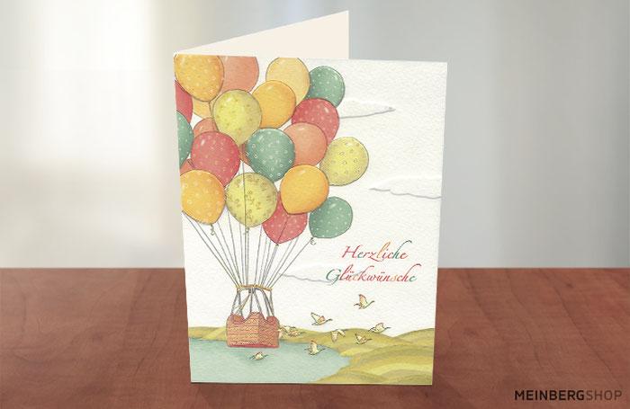 Herzliche Glückwünsche Heißluftballon Karte