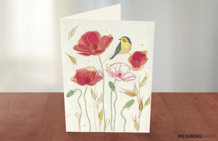 Meise und Mohnblumen Doppelkarte
