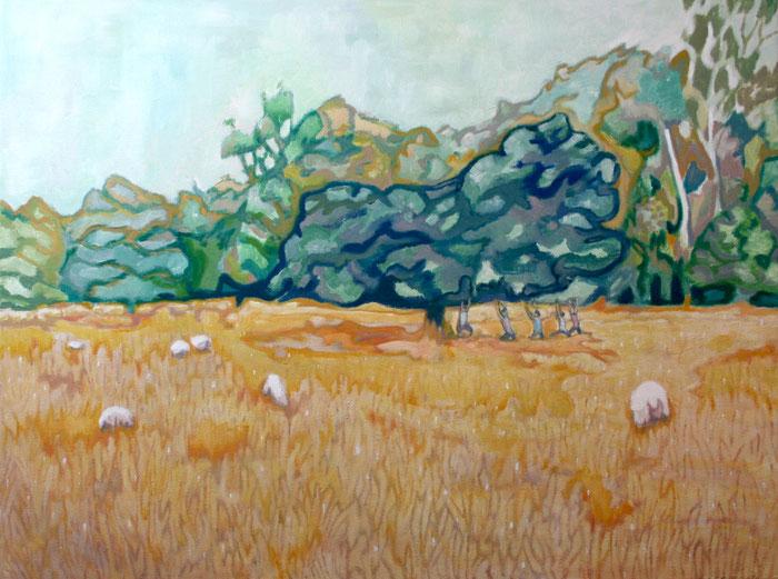 Yoga with sheep