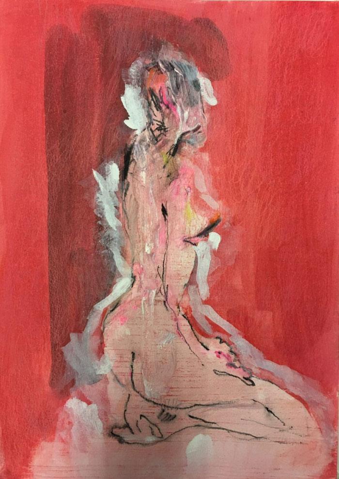 Existence en Rouge - Mixed media op papier