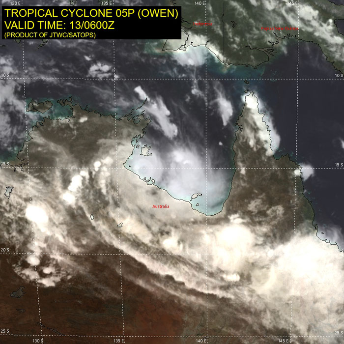 Satellite image of Tropical Cyclone Owen over Gulf of Carpentaria (13/12/2018), Image from JTWC