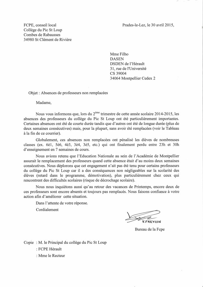 FCPE pic St loup Lettre DASEN absence prof