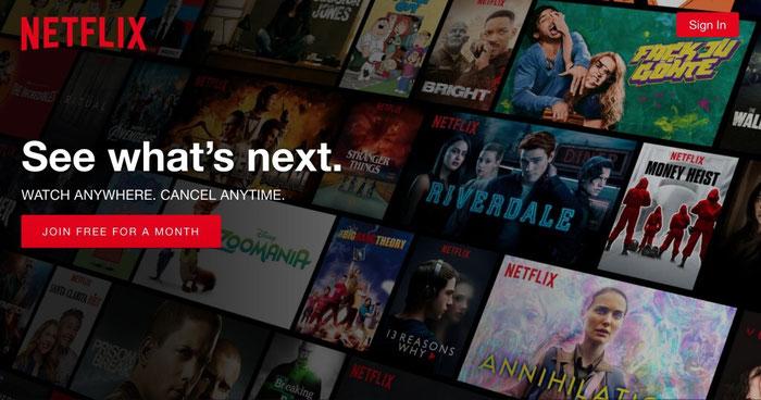 Voorbeeld van een call to action van Netflix