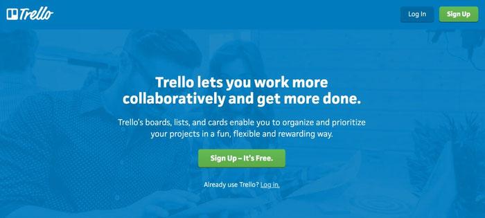 Voorbeeld van een call to action van Trello