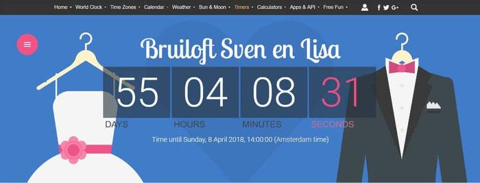 Voeg een eigen countdown aan je trouwsite toe met een widget van time and date