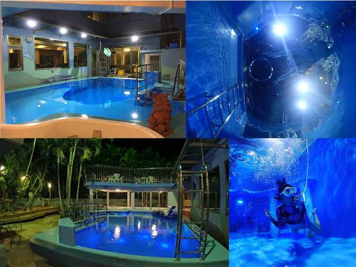 24時間プール施設もご利用できます。初めて講習受ける方にお試しに体験ダイビングも可能。
