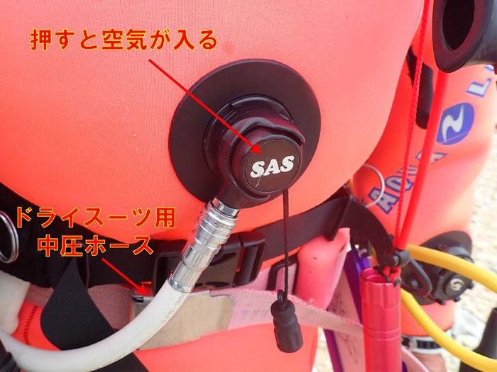 中圧ホースをつなげて空気を入れます。入れるときは真ん中のボタンを押すと入ります