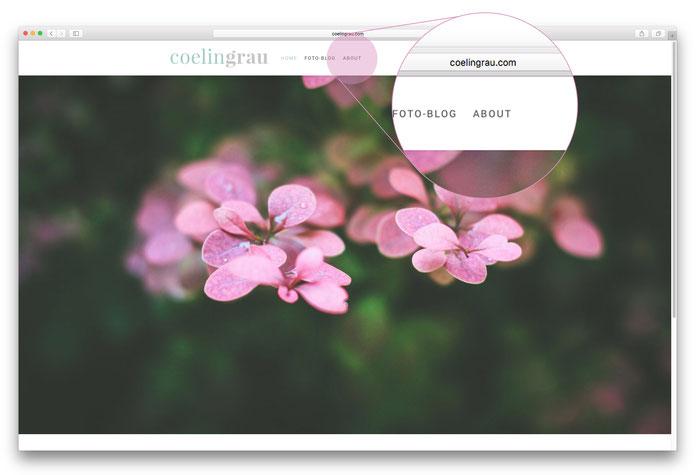 """Der Fotoblog """"Coelingrau"""" setzt auf Einfachheit. Von der minimalistischen Navigation wird direkt auf die """"Über mich""""-Seite verlinkt."""