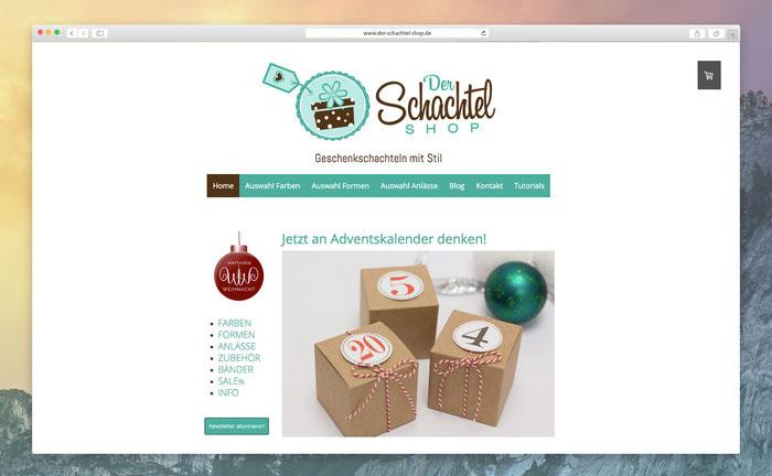 """Stefanie benutzt für ihren Schachtel-Shop das Jimdo Design """"Barcelona""""."""