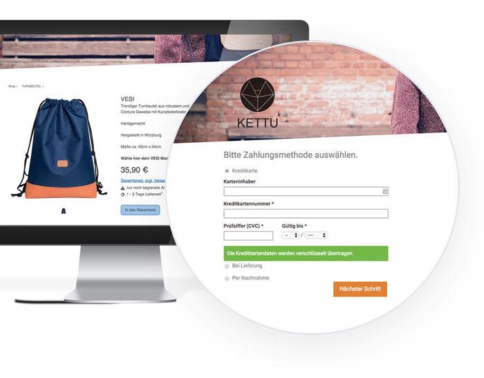 Die Kreditkartenzahlung mit Stripe ist perfekt in eure Webseite eingebettet. So kann der Kunde komfortabel zahlen, ohne euren Shop zu verlassen.