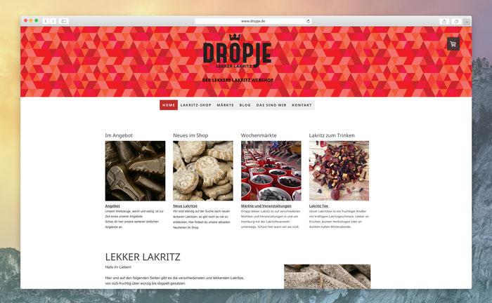"""Dropje nutzt das Jimdo Design """"Zurich"""", um die Shop-Produkte in einem breiten Inhaltsbereich präsentieren zu können."""
