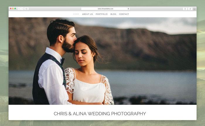Chris und Alina präsentieren auf ihrer Jimdo-Seite ihr kreatives Hochzeits-Portfolio. Dafür nutzen sie das Jimdo-Design Rome.