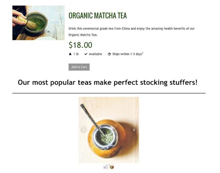 In diesem Beispiel, wird dem Kunden ein hochwertiger Bio Matcha Tee als Geschenk vorgeschlagen.