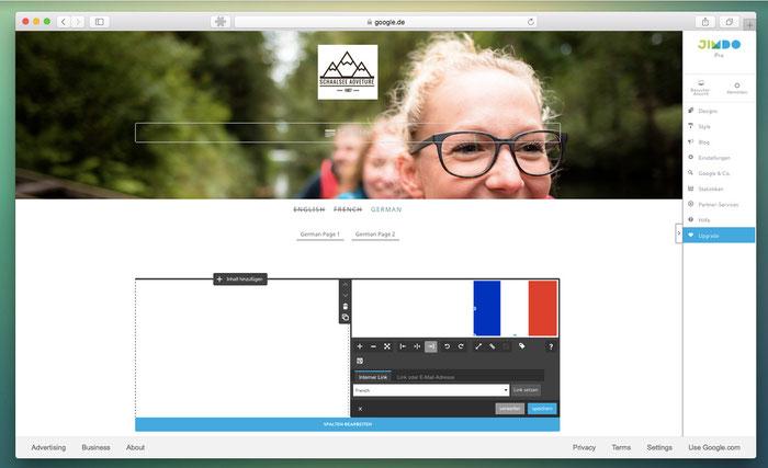 Hier sehr ihr, wie ihr die Flaggen im Design Zurich einsetzt, um die Seitenbesucher darüber zwischen den Sprachen wechseln zu lassen.