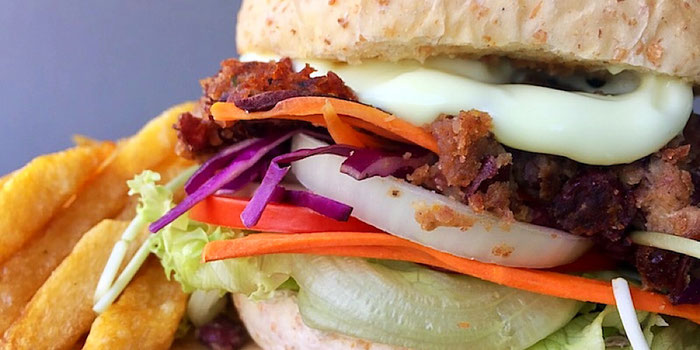 red bean burger from vegan heaven in chiang mai thailand