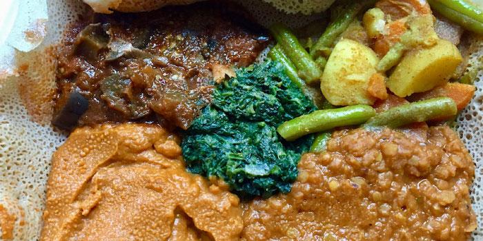 Ethiopian Vegetarian Platter at Mooshka in Amsterdam