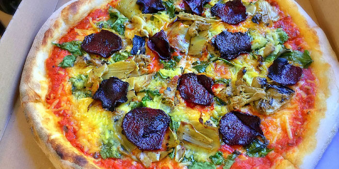 pizzaface art/beets vegan pizza