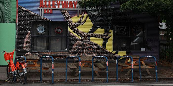 Bike at bar Portland