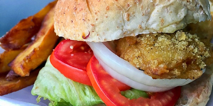 chicken burger from vegan heaven chiang mai thailand