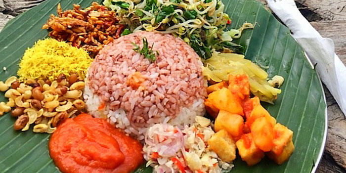 nasi campur at yellow flower cafe in ubud bali