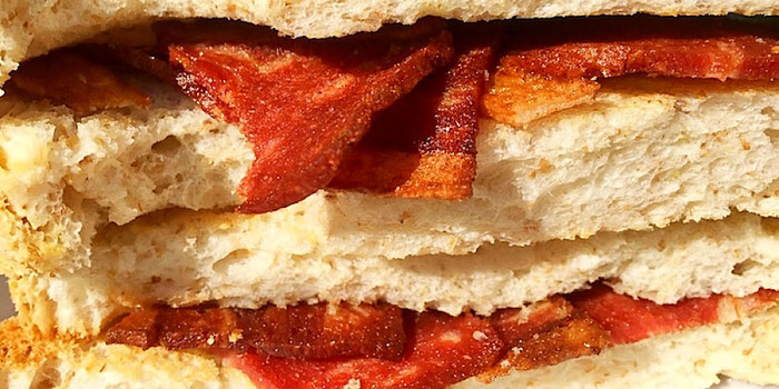 bacon club sandwich from vegan heaven in chiang mai thailand