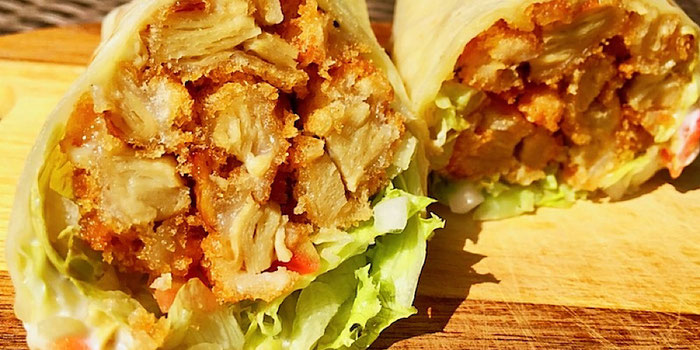fried chicken wrap from vegan heaven in chiang mai thailand