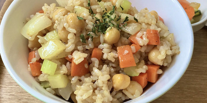 Chickpea brown rice salad