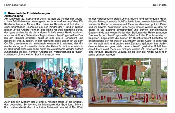 Einer von vielen tollen Artikeln, die rund um die Lesereise Rhein-Lahn 2015 erschienen sind ...