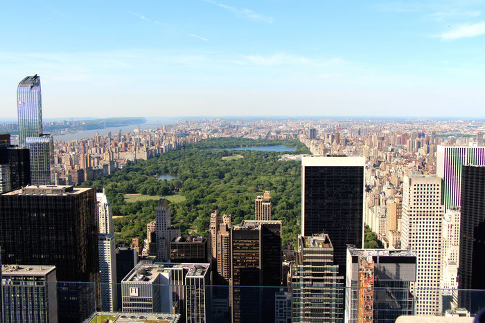 View of Central Park from Top of the Rock Observation Deck in NYC