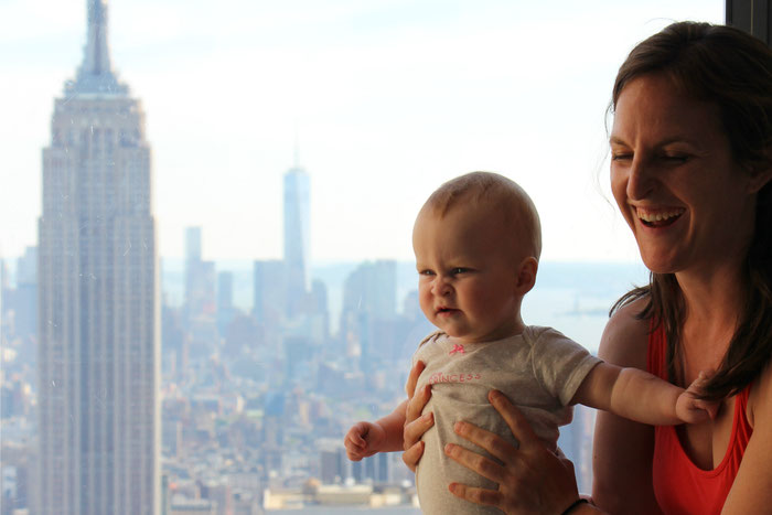 Top of the Rock observation deck at Rockefeller Center - Travel to NYC with baby