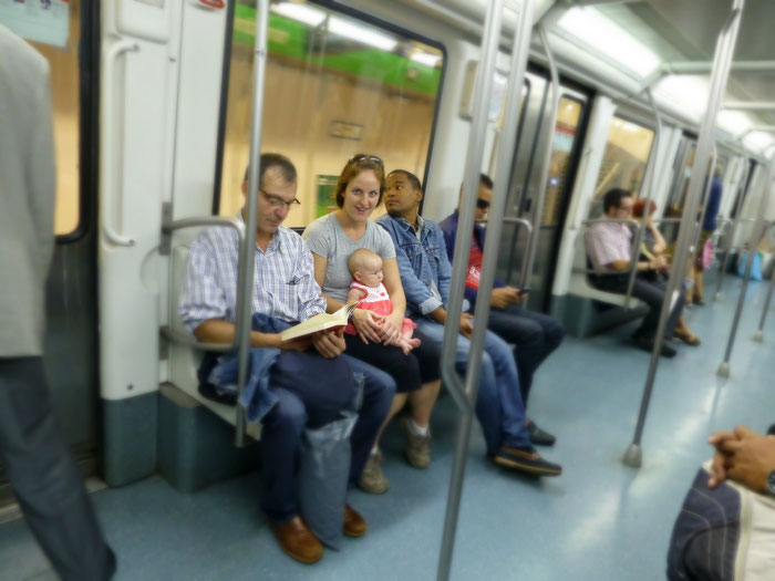 Barcelona public transit with baby